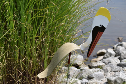"""Brown Pelican dancing garden art that moves with the wind atop a 35"""" stake, made in Michigan, USA."""