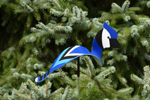 """Blue Jay dancing garden art that moves with the wind atop a 35"""" stake, made in Michigan, USA."""