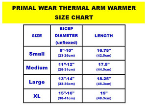 Primal Wear Black Thermal Arm Warmers Sleeves - your choice of size - armwarmers
