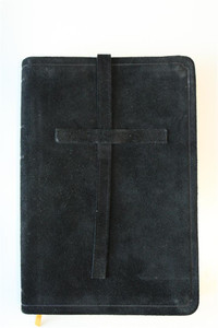 Russian Black Untreated Leather Bound Bible with Golden Edges and Thumb Index...