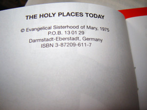 The Holy Places TODAY / by M. Basilea Schlink / Printed in Jerusalem