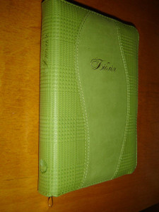 Ukrainian Leather Bible Green / Golden Edges, Zipper 10452
