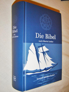 German Bible with Apocrypha BOAT Blue Cover / Martin Luther Translation