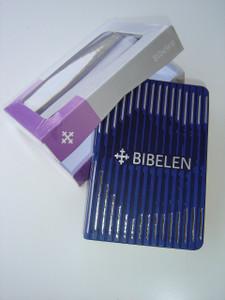 Norwegian Bible Blue Purple Silver Stripes / Lilla kunstskinn / BIBELEN
