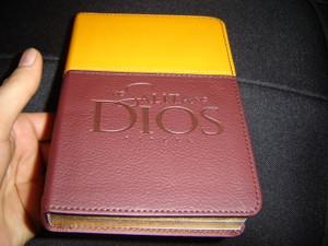 Modern Tagalog Bible / Ang Salita Ng Dios / ASD Tagalog Bible - Compact Size Italian TuTone Dark Brown Orange