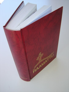 RAAMATTU / Finnish Bible with Double Cross Design / Pyha Raamattu Burgundy Cover