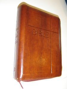 Czech Brown Leather Bound Bible with Zipper / Bible Pismo Svate Stareho A Noveho Zakona (vcetne deuterokanonckych knih)