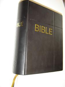 Czech Family Bible Black Leather Bound / Rodinna Bible Cesky Ekumenicky Preklad 073 / Czech Pulpit Bible Large Print with Maps