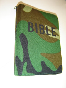 Czech Camouflage Bible / Bound in real military camouflage material, zipper, green edges / Bible Pismo Svate Stareho A Noveho Zakona