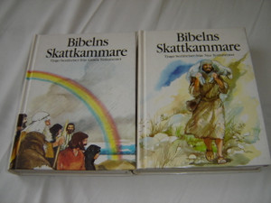 Swedish Language Children's The Lion Story Bible in 2 Volumes / Bibelns Skattkammare I-II Tjugo berattelser fran Gamla Testamentet and Nya Testamentet