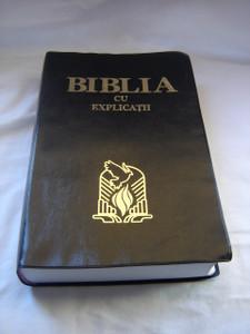 Romanian Black Vinyl Bound Bible KJV / BIBLIA Traducerea Cornilescu Cu Explicatii