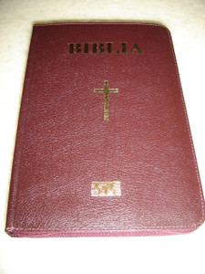 Biblia / Romanian Bible Leather Bound BURGUNDY Color with Ziper