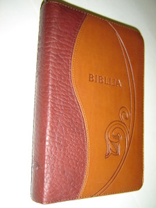 Lithuanian Bible Canonical Edition Brown Leather Bound with Zipper, Golden Edges, and Thumb Index, Color Maps