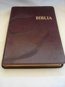 New EWE Bible / BIBLIA - Purple Leather Cover with Golden Edges / Words of Christ in RED