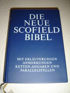 The New Scofield Study Bible in German Language / Blue Vinyl bound, Color Maps / Die Neue Scofield Bibel Mit Erlauterungen Anmerkungen Ketten-Angaben Und Parallelstellen