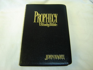 Prophecy Study Bible by Pastor John G. Hagee / Black Bonded Leather Cover / Words of Christ in Red / NKJV Text, Color Maps, Concordance, Introduction to Bible Prophecy