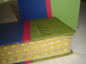 Christian Community Bible with Study Notes / Catholic Pastoral Edition / Green Blue Imitation Leather Color Cover