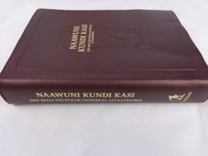 Catholic Bible in the Dagbani Language published as Naawuni Kundi Kasi Din Mali Diuterokanonikal Litaafinima / Brown Vinyl Cover / The Words of Christ in Red DC050
