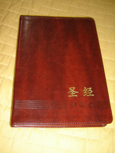 Chinese Study New Testament / Brown Leather Bound Golden Edges / Full Color Illustrations / The ESV Study Bible study notes and materials translated to Mandarin Chinese Language / 2015 Print