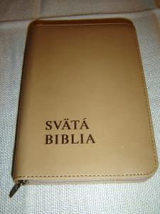 Slovak Language Holy Bible, Brown Leather with Zipper / Svata Biblia, Hnedá Koža so Zipsom – z Povodnych Jazykov Prelozil Prof. Jozef Rohacek