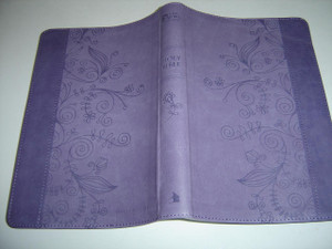God's Word Translation (GW) Bible, Indigo Vinyl Softcover with Floral Motifs and Silver Edges / With Bible Reading Plan and Color Maps