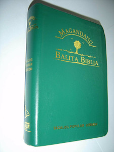 Tagalog Popular Version (TPV) Bible - Magandang Balita Biblia (MBB) / Green Vinyl Softcover with Thumb Index / Double Column Text with Maps at the End