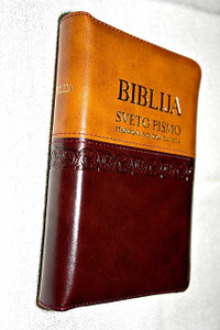 Croatian Holy Bible, Brown-Tan Duo-Tone Leather Bound with Zipper and Golden Page Edges / Old and New Testaments in Double Column Text / Biblija, Sveto Pismo – Staroga I Novoga Zavjeta
