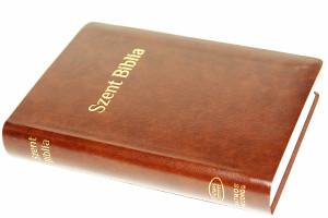 Brown Hungarian Karoli Bible Words of Christ in Red / Hungarian KJV Bible / Szent Biblia Károli Gáspár / Lots of Maps, Charts, Midsize Standard Közepes Barna