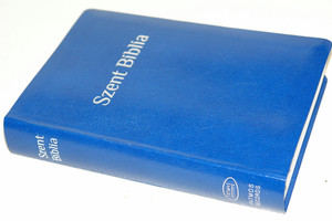 Blue Hungarian Karoli Bible Words of Christ in Red / Hungarian KJV Bible / Szent Biblia Károli Gáspár / 64 Maps, Charts, Midsize Standard Közepes Kek Blue
