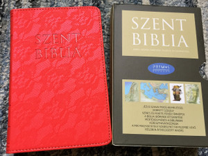 Hungarian Holy Bible, Red Leather bound with Golden Edges for Ladies / Mini Szent Biblia / Words of Christ in Red / Jézus szavai piros kiemeléssel / Purse Small Size / Maps
