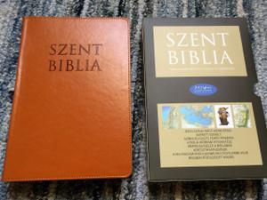 Hungarian Holy Bible, Deer Brown Leather bound with Thumb Index / Nagy Szent Biblia Őzbarna Regiszteres / Words of Christ in Red / Golden Edges / Maps / Jézus szavai piros kiemeléssel