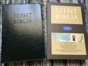 Hungarian Holy Bible, Deep Green Leather bound with Thumb Index / Nagy Szent Biblia Olajzold Regiszteres / Words of Christ in Red / Golden Edges / Maps / Jézus szavai piros kiemeléssel