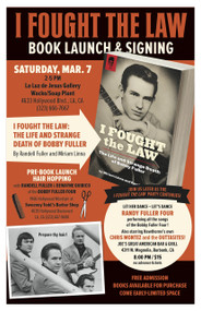 BOBBY FULLER HANDBILL POSTER - MARCH 7 LA BOOK LAUNCH & SIGNING