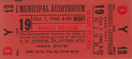 HANK SNOW TICKET STUB FROM OCTOBER 7 1960
