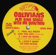 OBLIVIANS - PLAY NINE SONGS WITH MR. QUINTRON (SANDY)