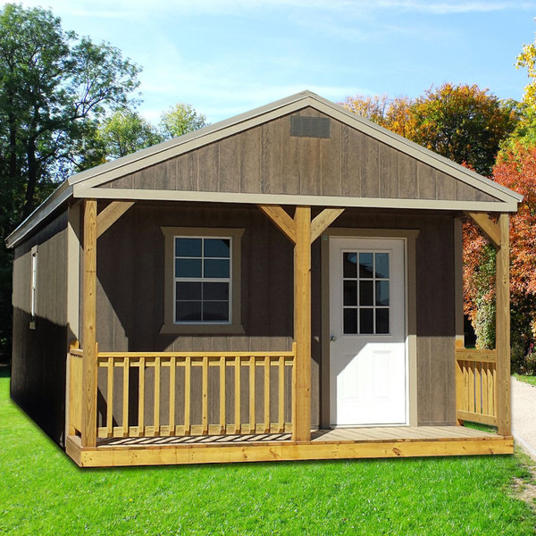 Shown in the 12' x 30' size with Driftwood urethane siding, Taupe painted trim and Taupe metal roof.