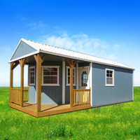 Shown in the 12' x 24' size in Belmont Blue painted Siding, White painted trim, and Alamo White metal roof, with additional optional windows and 11-Lite fiberglass door.