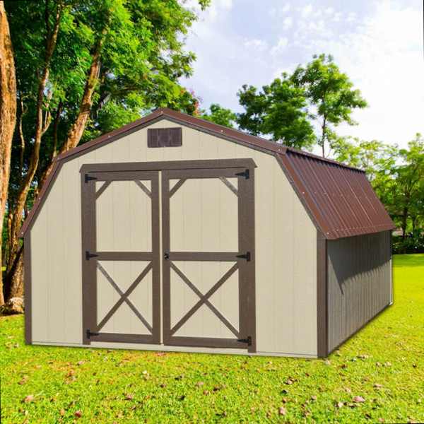 Shown in the 12' x 16' size with Taupe painted siding, Brown painted trim, and Brown metal roof.
