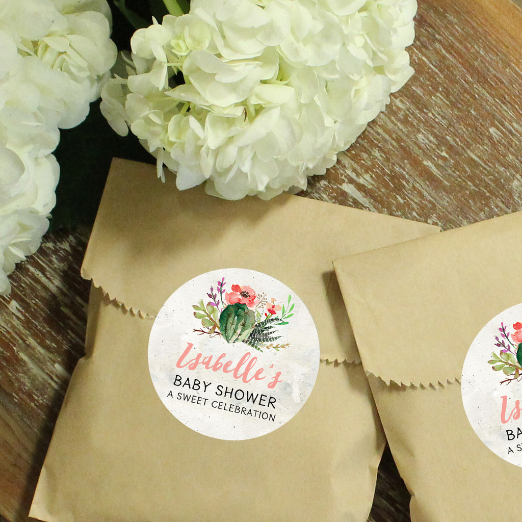 Personalized Paper Party Favor Bags - Cactus Flower Label