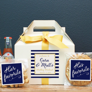 Wedding Welcome Boxes - Horizontal Stripe Label