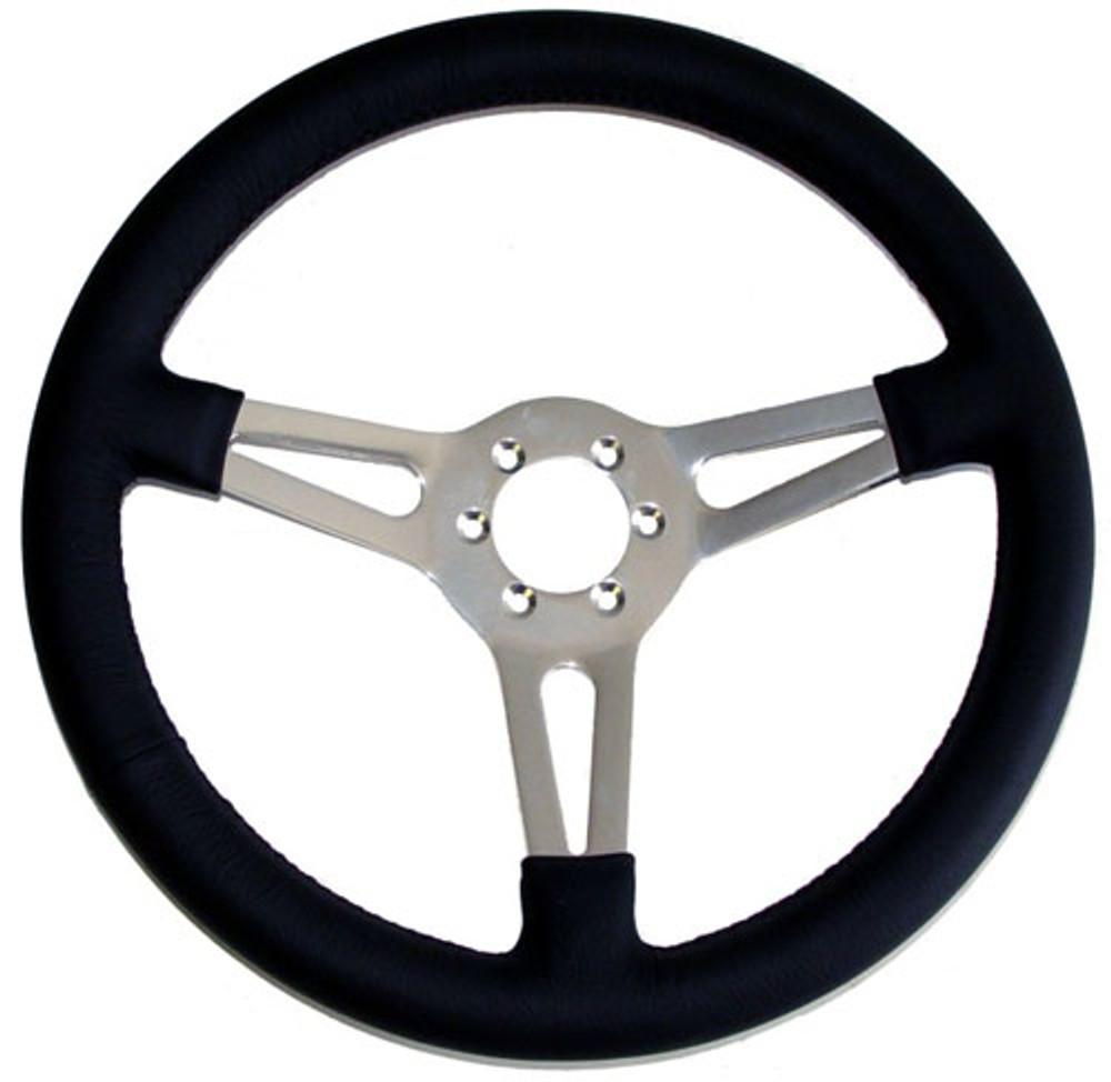 """#12451 - 14"""" Leather Steering Wheel"""