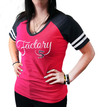 Women's Watermelon Pink & Gray Baseball T-Shirt