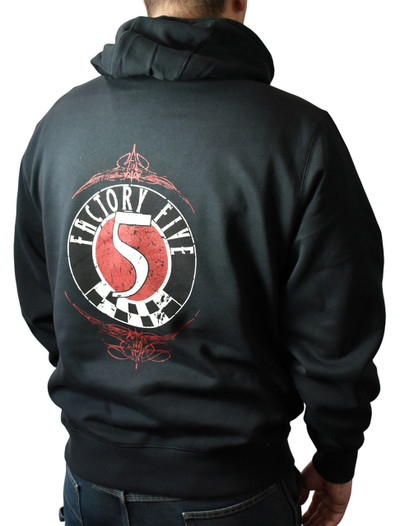 #16540 - Factory Five '50s Style Logo Black Hoodie (Pullover)