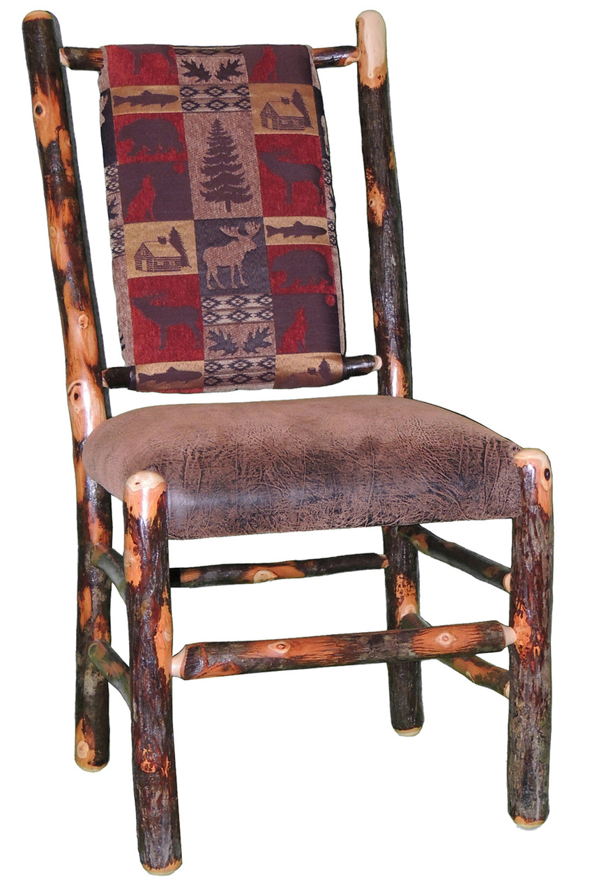 Rustic hickory upholstered dining chair red cabin for Red upholstered dining chair