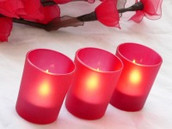 Red Frosted Glass Tea Light Votive Candle Holder