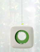 Hanging White Ceramic Cube Tealight Candle Holder - Green Centre