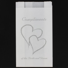 Wedding cake bag silver hearts