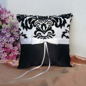 White Wedding Ring Bearer Pillow - Black and White Fleur Design White Ribbon Bow