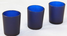 Blue Frosted Glass Cup Candle Holder
