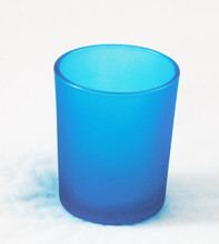 Turquoise Blue Frosted Shot Glass Tealight Votive Candle Holder